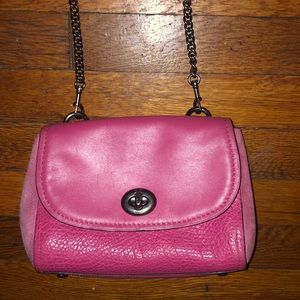 Coach Faye purse pink leather suede chain bag
